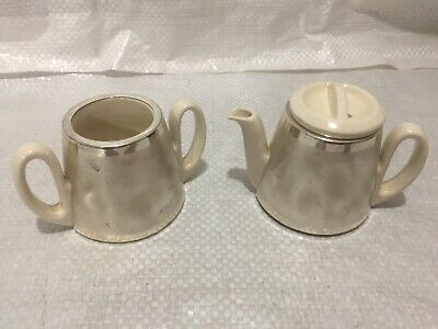 Vintage Small White Porcelain Tea Pot & Sugar Bowl Silver Plated From Germany