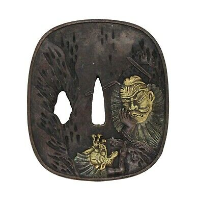 Japanese Rectangular Bronze Handcrafted Tsuba With Warrior And Dragon Art n423