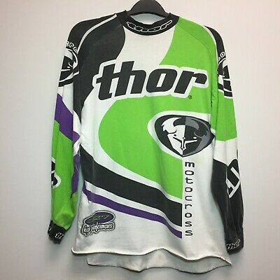 Thor Mens Long Sleeve Dirt Bike Motorcycle Motocross Jersey Green Purple
