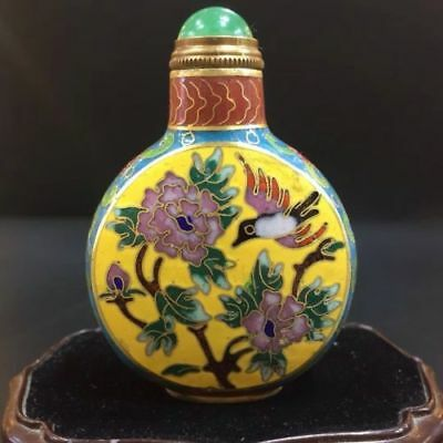 Chinese Antique Painted cloisonne peony bird snuff bottle