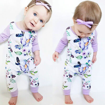 Infant Newborn Baby Girls Long Jumpsuit Romper Bodysuit Cotton Clothes Outfit