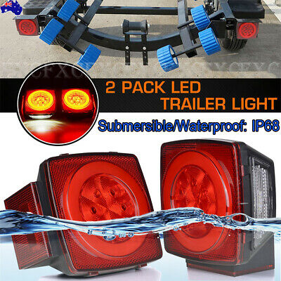 2x LED Submersible Square Trailer Boat Truck Tail Stop Brake License Plate Light