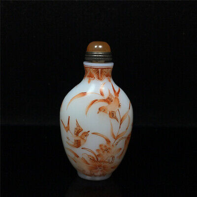 """1.77""""Exquisite Chinese Colored glaze Hand painted lotus flower Snuff bottle"""