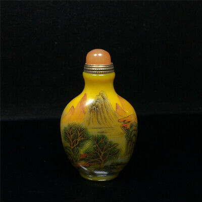 "3.03""Exquisite Chinese Colored glaze Hand painted Scenery Snuff bottle"