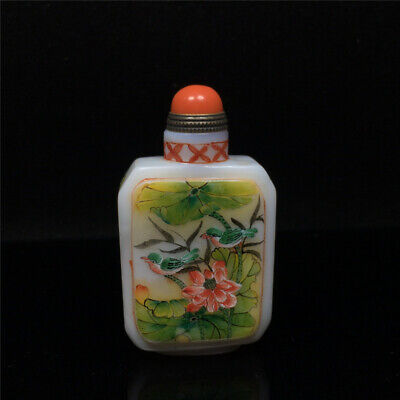 """3.03""""Exquisite Chinese Colored glaze Hand painted lotus flower Snuff bottle"""