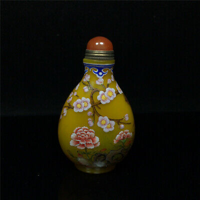 """3.03""""Exquisite Chinese Colored glaze Hand painted Plum blossom Snuff bottle"""