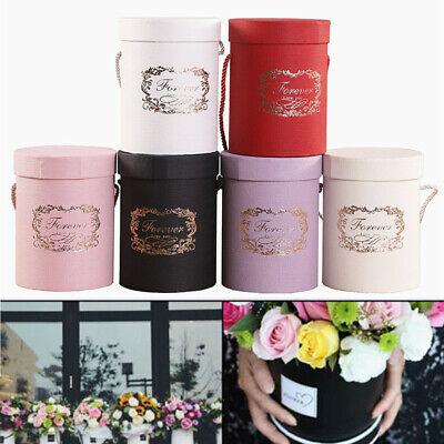 Fashion Handheld Paper Round Bouquet Flower Living Vases Florist Plant Boxes UK