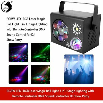 U'king RGBW Laser Magic Ball Light 3in1 Stage Light Effect DMX Sound Control KTV