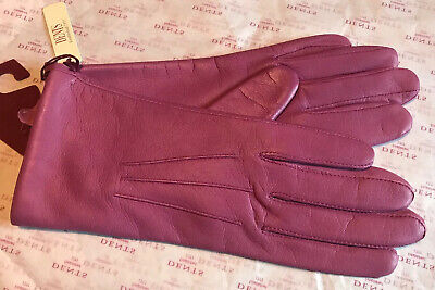 Dents Puce Pink Leather  Lined Gloves Size 6.5 Small Bnwt