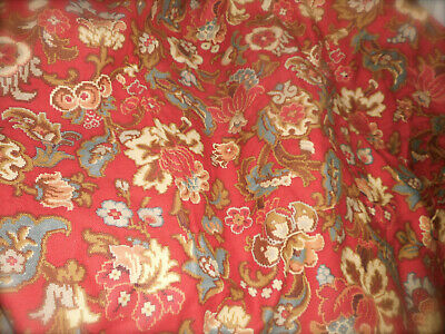 Antique French Floral Cretonne Cotton Fabric ~ Stunning Red Brown Slate Blue ~
