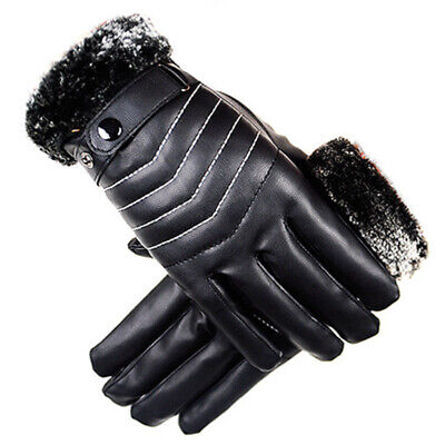 Men Winter Windproof Leather Faux Fur Ski Cycling Gloves Touch Screen Mittens