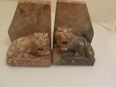 shoushan stone bookends foo dog lion animal heavy asian collectible 7489