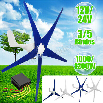 800-1200W Wind Turbines Generator 12-24V 3/5 Blades With Power Charge