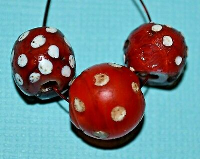 Antique Venetian Red Lampwork Skunk White Eyes Italian Glass Beads African Trade