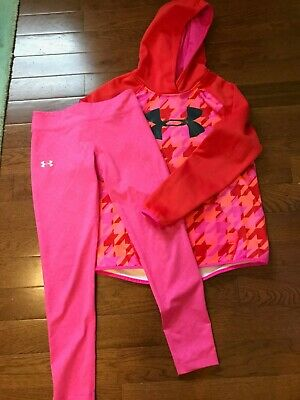 Under Armour Girls Fleece Sweetshirt Size Youth XL and Leggings Size Youth Large