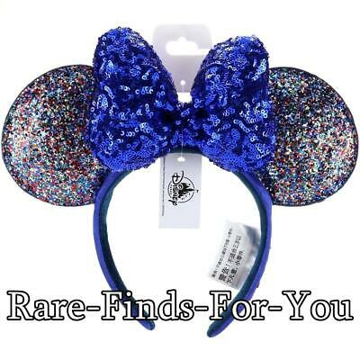 Disney Parks New Year 2020 Minnie Mouse Ears Blue Sequin Bow Headband (NEW/TAGS)