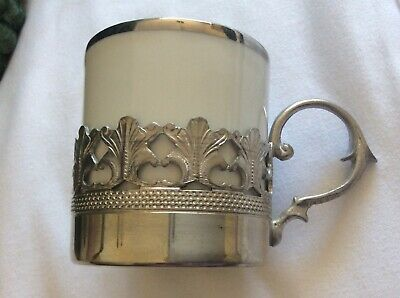 Vintage Kronester Pewter Demitasse Coffee Set with Kronester Porcelain Inserts