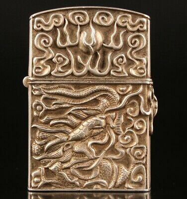 Unique China Tibetan Silver Lighter Shell Relief Dragon Sacred No Inner Core