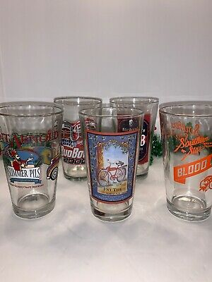 """Lot Of 5 Man Cave Assorted 6"""" Beer Glasses"""