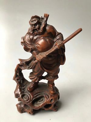 Chinese Antique Boxwood hand carving Zhong Kui Statues