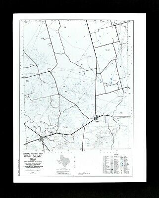 Texas Map Upton County McCamey Rankin Oil Fields Ranches Highways Railroads TX