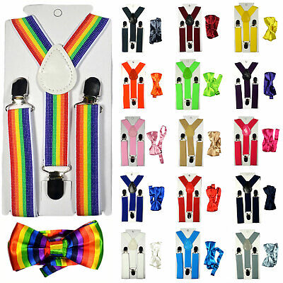 Children Kids Baby Elastic Suspenders Belt Bow Tie Set Boys Girls Bowtie Braces