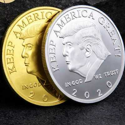 2020 ELECTION YEAR President Donald Trump Gold Plated Silver Metal Coin