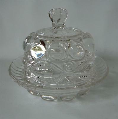 Antique EYEWINKER Glass Butter Dish and Dome Lid EAPG Dalzell Gilmore Leighton