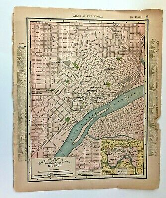 1895 Map of Main Portion Of St. Paul & Minneapolis  By Rand McNally & Co.