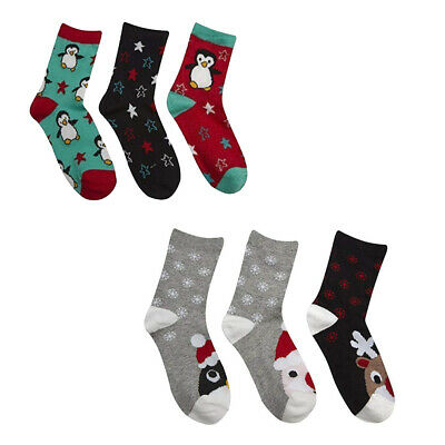 Girls XMAS Socks Girl Cotton Rich Novelty Christmas Cotton Rich Socks 3 Pack New