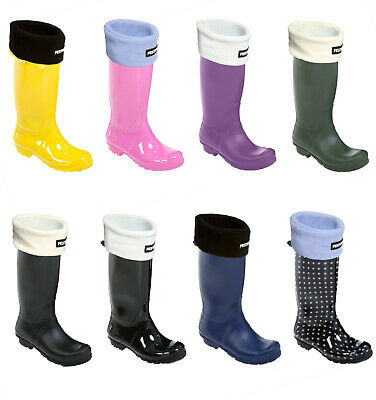 Womens Ladies Tall Festival Wellington Welly Boots With Warm Fleece Liner Socks