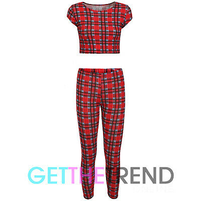 Girls New Tartan Printed Crop Top Leggings Set Girls Check Print Full Outfit