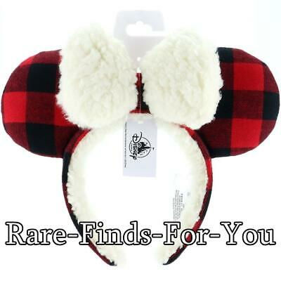 Disney Parks 2019 Minnie Ears Red Plaid Fuzzy Flannel Christmas Holiday Headband