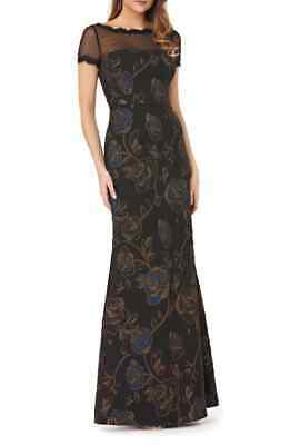 JS Collections Womens Dress Black Gold Size 2 Floral Print Mesh Gown $298 180