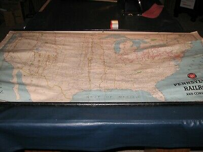 Large vintage Pennsylvania Railroad map for the  United States  Rand McNally