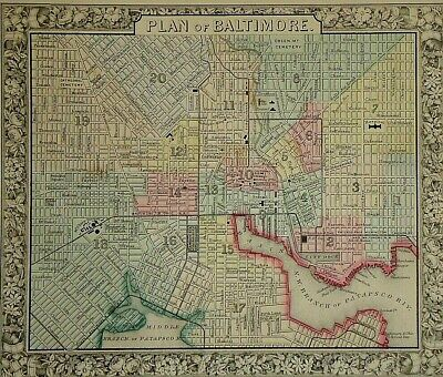 Vintage 1864 BALTIMORE, MARYLAND MAP Old Antique Authentic Atlas Map