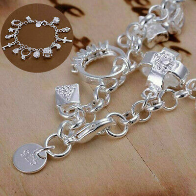 Women  Solid Silver Jewelry Bracelet Crystal 13 Charms Wholesale