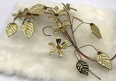 Vintage Handmade Metal Wall Art Flowers And Leaves Brass And Copper Decorative