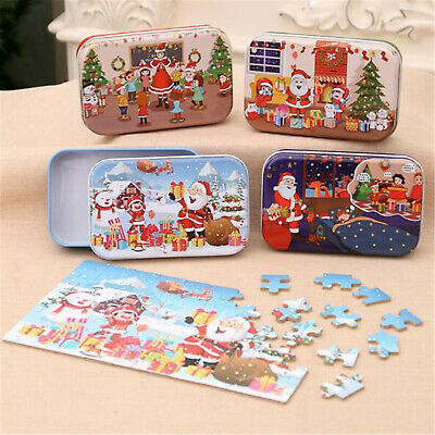 New Child Kid BABY Simple Christmas Cartoon Puzzle in Iron Box Fun Toy 3-5 Years