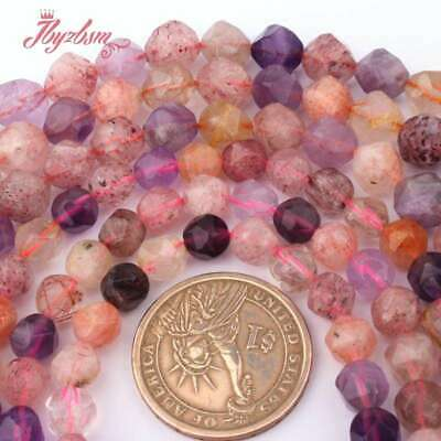 """Faceted Mixed Quartz Crystal Stone Beads Jewelry Making Necklace Bracelet 15"""""""
