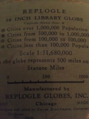 "Vintage 16"" Library World Replogle Globes, Inc."