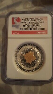 Majestic Maple Leaves 2016 Canada S$20 Drusy Stone Early Releases NGC PF70
