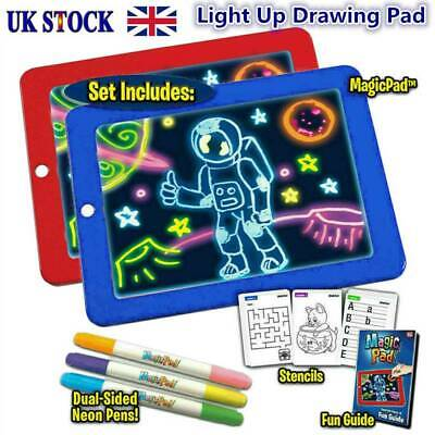 Magic Pad Light Up Drawing Pad with Neon Pens Creative Glow Art Light Effect UK