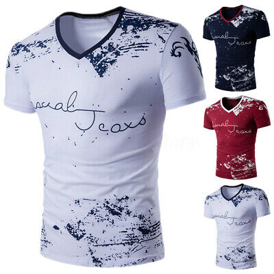 Summer Mens Slim Fit V Neck Short Sleeve Muscle Tee Shirts Casual T-shirt Tops