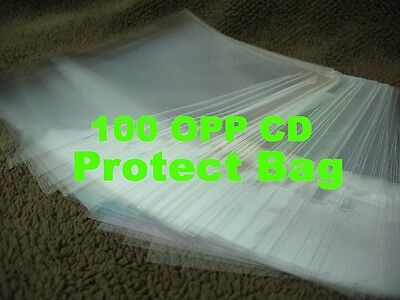 "100pcs 5""CD Plastic Protect Bag Resealable Outer Sleeves for CD Jewel Cases"