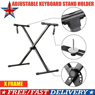 Heavy Duty X Frame Folding Adjustable Keyboard Stand Holder Piano With Straps