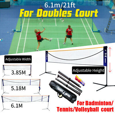 6M Portable Badminton Tennis Net  Adjustable Height&Width Set with Carry Bag ~