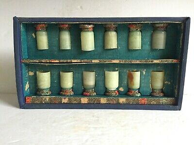 Antique 12pc in Box Chinese Jade Wine Tea Cup Early Republic Period Embroidered