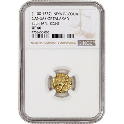 (1100 - 1327) India Gold Pagoda - Gangas of Talakad - Elephant Right - NGC XF40