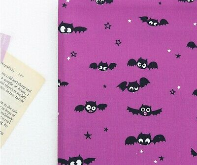 Halloween purple night bat 100% Cotton Fabric BY THE YARD bats quilting 986224=